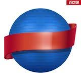 Ετικέτα κλασικού μπλε Fitball με την κορδέλλα ελεύθερη απεικόνιση δικαιώματος