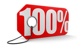 Ετικέτα με 100% (πορεία ψαλιδίσματος συμπεριλαμβανόμενη) Στοκ Φωτογραφίες