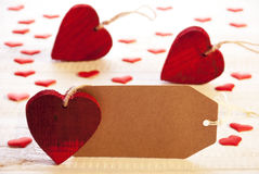 Ετικέτα με πολλούς κόκκινη καρδιά, διάστημα αντιγράφων στοκ φωτογραφία με δικαίωμα ελεύθερης χρήσης