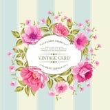Ετικέτα λουλουδιών στην εκλεκτής ποιότητας κάρτα Στοκ Εικόνες