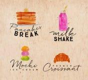Ετικέτα ο croissant Κραφτ Watercolor Στοκ Φωτογραφία