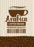 Ετικέτα σχεδίου για τα φασόλια καφέ με το φλυτζάνι σε αναδρομικό Στοκ Εικόνες
