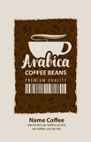 Ετικέτα σχεδίου για τα φασόλια καφέ με το φλυτζάνι σε αναδρομικό απεικόνιση αποθεμάτων