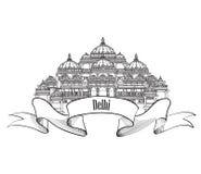 Ετικέτα του Δελχί Architecural Ινδικό σύμβολο ορόσημων Akshardham, Δελχί Στοκ εικόνα με δικαίωμα ελεύθερης χρήσης