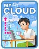 Ετικέτα υπηρεσιών σύννεφων διανυσματική απεικόνιση