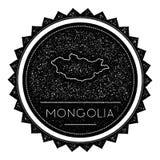 Ετικέτα χαρτών της Μογγολίας τον αναδρομικό τρύγο που ορίζεται με Στοκ Εικόνα