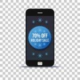 Ετικέτα χειμερινής πώλησης στην κινητή τηλεφωνική εφαρμογή που κολλιέται σε χαρτί φωτογραφιών στοκ εικόνα