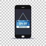 Ετικέτα χειμερινής πώλησης στην κινητή τηλεφωνική εφαρμογή που κολλιέται σε χαρτί φωτογραφιών στοκ φωτογραφία με δικαίωμα ελεύθερης χρήσης