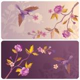 Ετικέτες ή εμβλήματα με τον κήπο πουλιών και λουλουδιών Στοκ Εικόνες