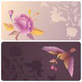 Ετικέτες ή εμβλήματα με το πουλί και το λουλούδι Στοκ Εικόνες