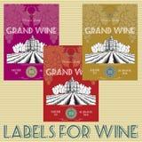 Ετικέτες για το κρασί με τα σταφύλια Στοκ φωτογραφία με δικαίωμα ελεύθερης χρήσης