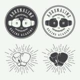 Ετικέτες εγκιβωτισμού και λογότυπων πολεμικών τεχνών διακριτικά και στο εκλεκτής ποιότητας ύφος Στοκ Εικόνα