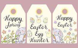 ετικέτες Πάσχας Ευτυχές ελατήριο, κυνηγός αυγών Πάσχας, ευτυχές Πάσχα ελεύθερη απεικόνιση δικαιώματος