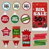 Ετικέτες πώλησης Χριστουγέννων Ελεύθερη απεικόνιση δικαιώματος