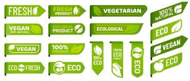 Ετικέτες σημαδιών Vegan Φρέσκα χορτοφάγα προϊόντα, οργανική τροφή eco και συνιστώμενο υγιές σύνολο διακριτικών αυτοκόλλητων ετικε ελεύθερη απεικόνιση δικαιώματος