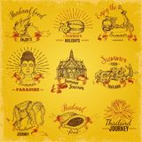 Ετικέτες ταξιδιών της Ταϊλάνδης καθορισμένες διανυσματική απεικόνιση