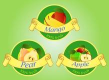 Ετικέτες φρούτων στο πράσινο υπόβαθρο διανυσματική απεικόνιση