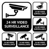 Ετικέτες CCTV Καθορισμένη τηλεοπτική επιτήρηση συμβόλων Στοκ εικόνα με δικαίωμα ελεύθερης χρήσης