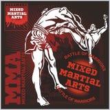 Ετικέτες MMA - μικτό διάνυσμα σχέδιο πολεμικών τεχνών απεικόνιση αποθεμάτων