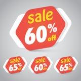 Ετικέττα αυτοκόλλητων ετικεττών πώλησης για σχέδιο στοιχείων μάρκετινγκ το λιανικό με 60% 65% μακριά επίσης corel σύρετε το διάνυ Στοκ εικόνα με δικαίωμα ελεύθερης χρήσης