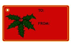 Ετικέττα δώρων Χριστουγέννων της Holly Στοκ εικόνες με δικαίωμα ελεύθερης χρήσης