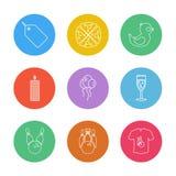 ετικέττα, πίτσα, μπαλόνια, κερί, γυαλί, κόμμα, γενέθλια, CEL απεικόνιση αποθεμάτων
