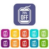 Ετικέττα πώλησης 75 τοις εκατό από τα εικονίδια καθορισμένα Στοκ φωτογραφία με δικαίωμα ελεύθερης χρήσης