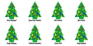 Ετικέττες ή αυτοκόλλητες ετικέττες χριστουγεννιάτικων δέντρων Στοκ Φωτογραφίες