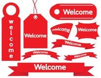 Ετικέττες εγγράφου ευπρόσδεκτων σημαδιών Στοκ Εικόνα