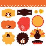 Ετικέττες και στοιχεία ημέρας των ευχαριστιών καθορισμένες Στοκ Εικόνες