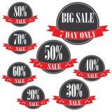 ετικέττες πώλησης μόδας εξαρτημάτων Εμβλήματα πώλησης Αγορές κορδέλλα 20%-80% σημάδι πώλησης Κόκκινος διανυσματική απεικόνιση