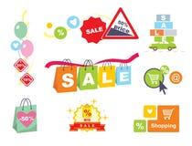 ετικέττες πώλησης μόδας εξαρτημάτων Εμβλήματα Origami πώλησης καθορισμένα Αγορές Στοκ Φωτογραφίες