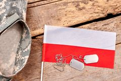 Ετικέττες σημαιών και σκυλιών της Πολωνίας Στοκ Εικόνες