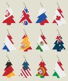 Ετικέττες σημαιών χριστουγεννιάτικων δέντρων Στοκ εικόνες με δικαίωμα ελεύθερης χρήσης