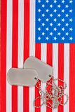 Ετικέττες σκυλιών και αμερικανική αμερικανική σημαία Στοκ φωτογραφίες με δικαίωμα ελεύθερης χρήσης