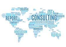 Ετικέττες σύννεφων του μάρκετινγκ του παγκόσμιου χάρτη επιχειρησιακών λέξεων απεικόνιση αποθεμάτων