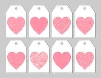 Ετικέττες δώρων με τις ρόδινες καρδιές Στοκ Εικόνες
