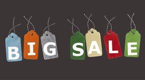 Ετικέττες δώρων που απομονώνονται στο μαύρο υπόβαθρο Ετικέτες πώλησης Στοκ εικόνες με δικαίωμα ελεύθερης χρήσης