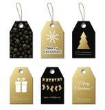 Ετικέττες δώρων Χριστουγέννων Διανυσματικές χρυσές ετικέτες Στοκ Εικόνες