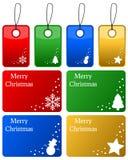 Ετικέττες δώρων Χριστουγέννων που τίθενται Στοκ φωτογραφίες με δικαίωμα ελεύθερης χρήσης