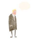 ευέξαπτο άτομο κινούμενων σχεδίων με τη σκεπτόμενη φυσαλίδα Στοκ Εικόνες