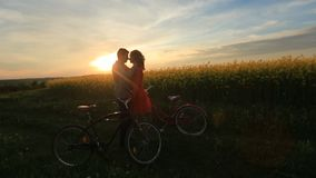 Ευαίσθητο αγαπώντας ζεύγος με τα ποδήλατα στον ανθίζοντας τομέα Ο νεόνυμφος κτυπά ήπια το πρόσωπο του εραστή του κατά τη διάρκεια φιλμ μικρού μήκους