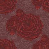 Ευγενές άνευ ραφής σχέδιο με τα χρωματισμένα τριαντάφυλλα Στοκ εικόνες με δικαίωμα ελεύθερης χρήσης