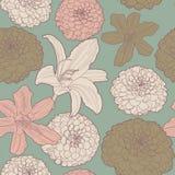 Ευγενές άνευ ραφής floral σχέδιο άνοιξη με τον κρίνο διανυσματική απεικόνιση