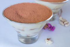 Ευγενές επιδόρπιο καφέ μπισκότα στην κρέμα thiramisu Μακροεντολή Στοκ Φωτογραφίες