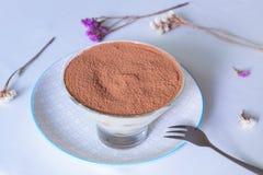 Ευγενές επιδόρπιο καφέ μπισκότα στην κρέμα thiramisu Μακροεντολή Στοκ Εικόνες