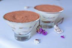 Ευγενές επιδόρπιο καφέ thiramisu Μακροεντολή Στοκ φωτογραφία με δικαίωμα ελεύθερης χρήσης