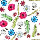 Άνευ ραφής σχέδιο λουλουδιών Ευγενή λουλούδια άνοιξης και καλοκαιριού Τυπωμένη ύλη για το ύφασμα και άλλες επιφάνειες r Εξευγενίσ απεικόνιση αποθεμάτων