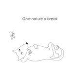 Ευημερία άγριας φύσης Αστείος λίγο σκίτσο συντήρησης φύσης χαριτωμένος Στοκ εικόνα με δικαίωμα ελεύθερης χρήσης