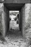 Ευθείς συμπαγείς τοίχοι μιας γερμανικής αποθήκης στη Lilia, Βρετάνη, Φ στοκ εικόνες